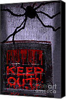 Haunted House Canvas Prints - Blood and Spider Canvas Print by Charline Xia