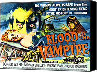 1950s Poster Art Canvas Prints - Blood Of The Vampire, Girl On Table Canvas Print by Everett