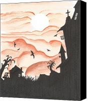 Haunted House Mixed Media Canvas Prints - Blood Red Sky Canvas Print by Anthony McCracken