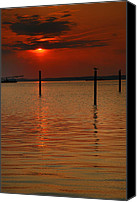 Chincoteague Canvas Prints - Blood Red Sky Canvas Print by Steven Ainsworth