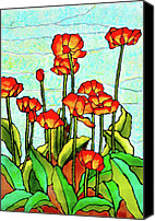 Red Glass Art Canvas Prints - Blooming Flowers Canvas Print by Farah Faizal