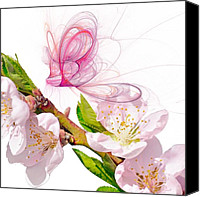 Ghosts Digital Art Canvas Prints - Blossom and Butterflies Canvas Print by Sharon Lisa Clarke
