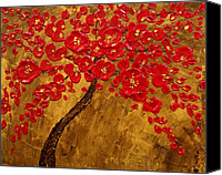 Impasto Reliefs Canvas Prints - Blossom Original Impasto palette knife abstract painting Cherry Tree Canvas Print by Aboli Salunkhe