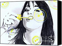 Bubbles Drawings Canvas Prints - Blowing bubbles Canvas Print by Gil Fong