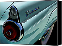 Thunderbird Canvas Prints - Blue 1955 T-Bird Canvas Print by Douglas Pittman