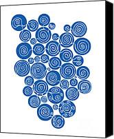 Swirls Drawings Canvas Prints - Blue Abstract Canvas Print by Frank Tschakert
