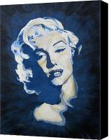 Joe Dimaggio Painting Canvas Prints - Blue and Gold Marilyn Canvas Print by Michael Morgan
