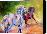 Williams Painting Canvas Prints - Blue and Red Andalusians Canvas Print by Diane Williams