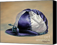 Pdjf Canvas Prints - Blue and White Jockey Cap Canvas Print by Thomas Allen Pauly