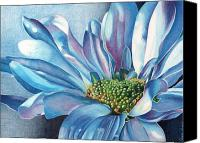 Floral Florals Canvas Prints - Blue Canvas Print by Angela Armano