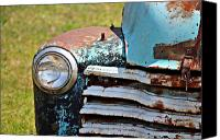 Old Trucks Canvas Prints - Blue Antique Chevy Grill- Fine Art Canvas Print by KayeCee Spain