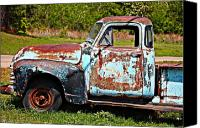 Old Trucks Canvas Prints - Blue Antique Chevy Truck- Fine Art Canvas Print by KayeCee Spain