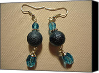 Glitter Earrings Jewelry Canvas Prints - Blue Ball Sparkle Earrings Canvas Print by Jenna Green