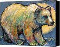 Santa Fe Canvas Prints - Blue Bear Grizzly Bear in a Full Moon Canvas Print by Carol Suzanne Niebuhr