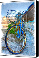 Florida Bridges Canvas Prints - Blue Bike Canvas Print by Debra and Dave Vanderlaan