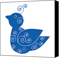 Spiral Drawings Canvas Prints - Blue Bird Canvas Print by Frank Tschakert