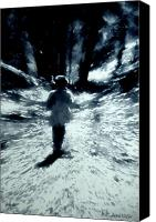 Child Canvas Prints - Blue Boy Walking into the Future Canvas Print by RC DeWinter
