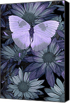 Arrangement Painting Canvas Prints - Blue Butterfly Canvas Print by JQ Licensing