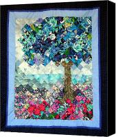 Quilting Tapestries - Textiles Canvas Prints - Blue Butterfly Tree Canvas Print by Sarah Hornsby