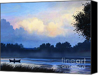 River Rafting Print Canvas Prints - Blue Canoe Canvas Print by Robert Foster