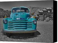 Turquoise And Rust Canvas Prints - Blue Chevy Truck Canvas Print by Joan McDaniel