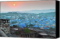 India Canvas Prints - Blue City At Sunset Canvas Print by Massimo Calmonte (www.massimocalmonte.it)