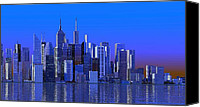 Louis Ferreira Art Canvas Prints - Blue City Canvas Print by Louis Ferreira