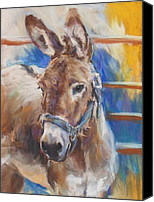 Donkey Pastels Canvas Prints - Blue Collar Donkey Canvas Print by Debbie Anderson