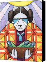 Native Drawings Canvas Prints - Blue Corn Woman Canvas Print by Amy S Turner