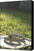 Bracelet Jewelry Canvas Prints - Blue Canvas Print by Courtney Hancock