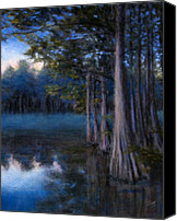 Landscape Pastels Canvas Prints - Blue Cypress Morning Canvas Print by Susan Jenkins