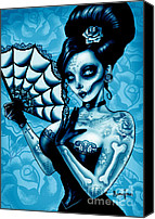 Tattoo Canvas Prints - Blue Death Art Print Canvas Print by Screaming Demons
