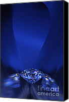 Wealth Jewelry Canvas Prints - Blue Diamond In Blue Light Canvas Print by Atiketta Sangasaeng