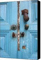 Door Handles Canvas Prints - Blue Door Canvas Print by Angela Siener