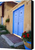 Ristra Canvas Prints - Blue Door of an Adobe Building Taos New Mexico Canvas Print by George Oze