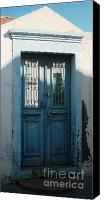 Greece Canvas Prints - Blue Door of Greece Canvas Print by Therese Alcorn