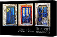 Door Canvas Prints - Blue Doors Of Santorini Canvas Print by Meirion Matthias