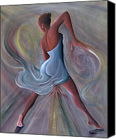 Contemporary Dance Painting Canvas Prints - Blue Dress Canvas Print by Ikahl Beckford