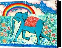 Sue Burgess Canvas Prints - Blue Elephant and Rainbow Canvas Print by Sushila Burgess