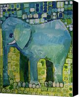 Greeting Card Canvas Prints - Blue Elephant Canvas Print by Donna Howard