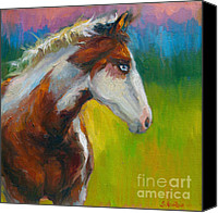 Realistic Art Canvas Prints - Blue-eyed Paint Horse oil painting print Canvas Print by Svetlana Novikova