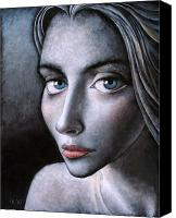 Young Woman Blue Canvas Prints - Blue eyes Canvas Print by Ipalbus Art
