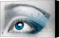 Human Canvas Prints - Blue Female Eye Macro with Artistic Make-up Canvas Print by Oleksiy Maksymenko