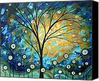 Madart Canvas Prints - Blue Fields Abstract Artwork MADART Canvas Print by Megan Duncanson