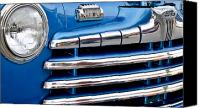 Custom Grill Canvas Prints - Blue Ford Classic Grill Canvas Print by Carolyn Marshall