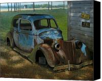 Junk Canvas Prints - Blue Ford Canvas Print by Doug Strickland