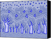 Freehand Drawing Canvas Prints - Blue Forest Canvas Print by James Davidson