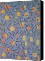 Textile Tapestries - Textiles Canvas Prints - Blue Fruit Canvas Print by William Morris