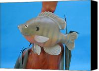Woodcarving Sculpture Canvas Prints - Blue Gill Canvas Print by Jack Murphy