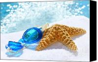 White Starfish Canvas Prints - Blue goggles on a white towel  Canvas Print by Sandra Cunningham